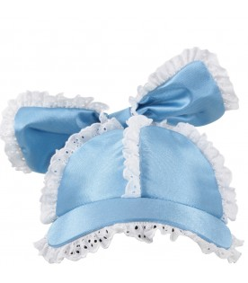 Light blue hat for girl with bow