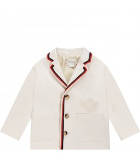 Ivory jacket for baby kid with double GG