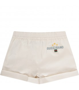 Ivory babyboy short with light blue logo