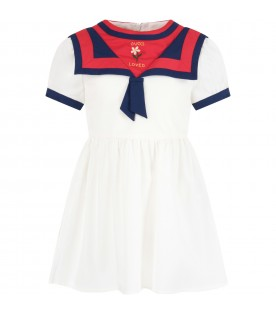 Ivory girl dress wth logo
