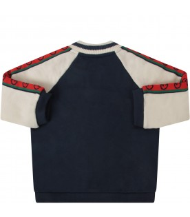 Bicolor sweatshirt with logo for baby boy