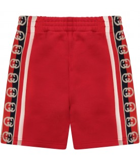 Red shorts with logo for baby boy