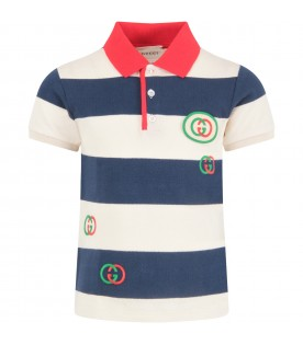 Striped polo shirt with logo for boy