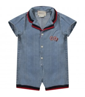 Denim rompers with logo for baby boy