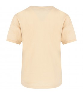 Beige t-shirt with logo for kids