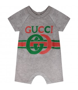 Grey babyboy romper with logo