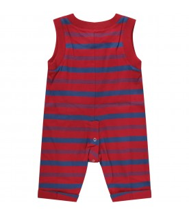 Red babyboy romper with logo