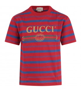 Striped t-shirt with logo for kids