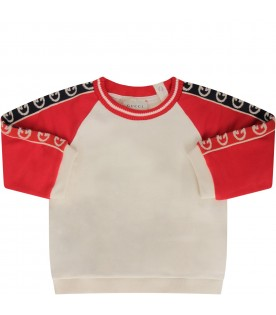 Ivory and red babyboy sweatshirt with double GG