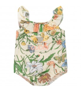 Ivory babygirl swimsuit with logo