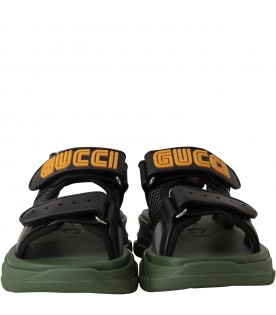 Black boy sandals with logo