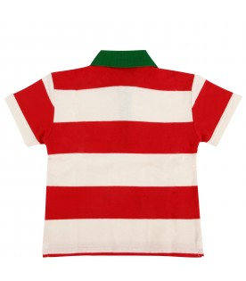 Red and ivory babykids polo shirt with logo