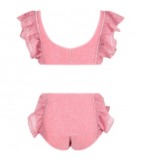 Pink girl bikini with ruffles