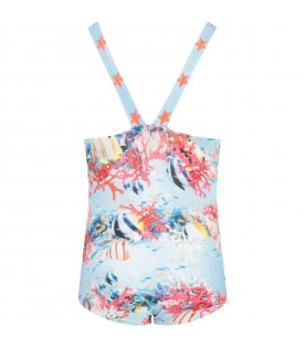 Light blue  girl swimsuit withcorals