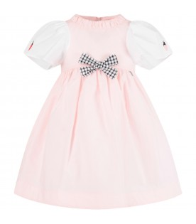 Pink girl dress with bow