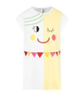 White and yellow girl dress with black logo