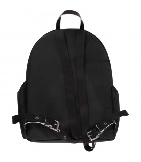 Black kids backpack with logo