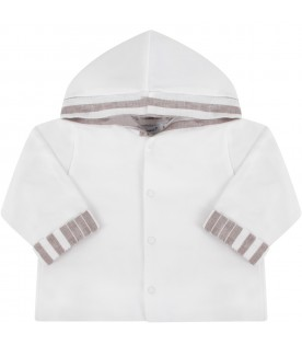 White babyboy sweatshirt with striped details