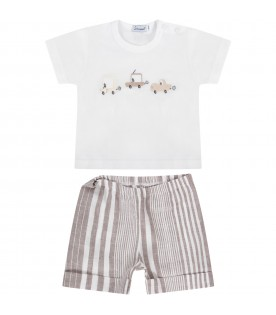 White and biege babyboy suit with cars