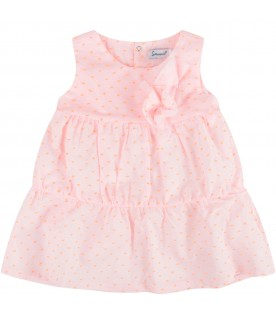Pink babygirl dress with polka-dots