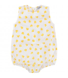 White babykids romper with ducks