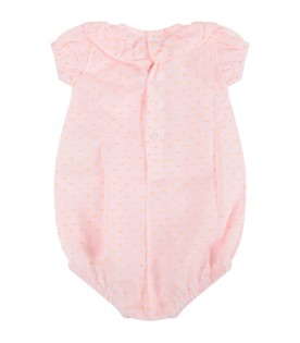 Pink babygirl romper with polka-dots