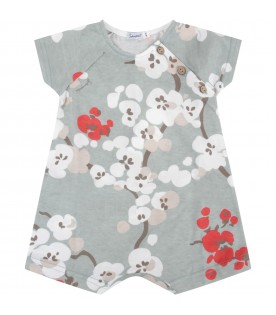 Green babygirl rompers with flowers