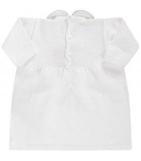 White babygirl dress with beige bows