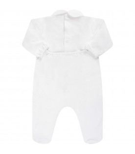 White baby babygrow with beige bows