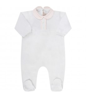 White babygirl babygrow with pink ruffle