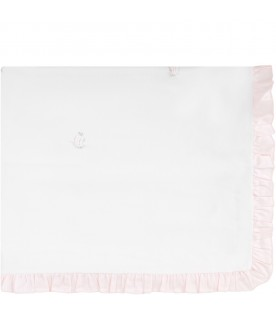 White babygirl blanket with pink ruffle