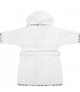 White babykids toweling with beige logo