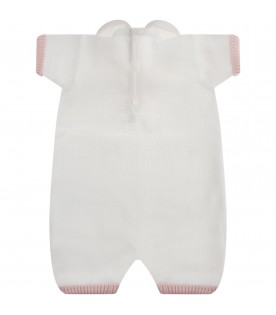 White babygrow with pink trims