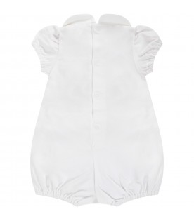 White baby romper with yellow polka-dots
