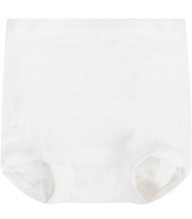 White babykids culotte with ribbs