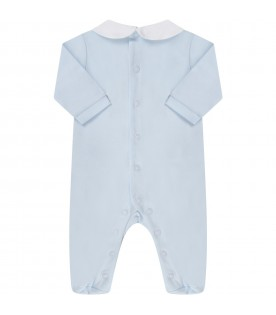 Light blue and white babyboy babygrow with feathers