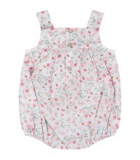 White babygirl romper with colorful flowers