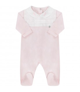 Pink and white babygirl babygrow with feathers