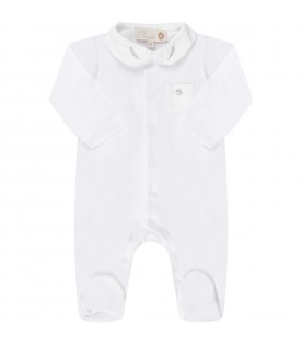 White babyboy babygrow with feathers