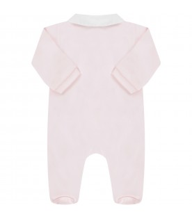Pink babygirl babygrow with feathers