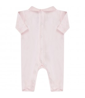 Pink babygirl babygrow with rhombus