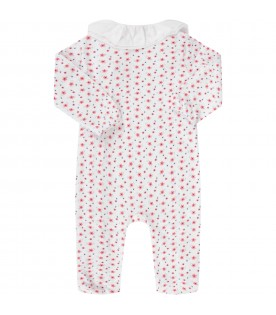 White babygirl babygrow with colorful flowers