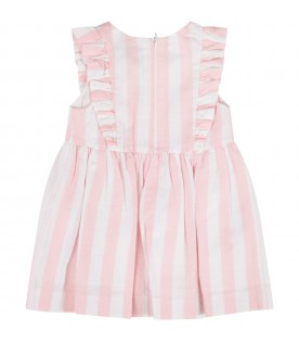 Pink and white  babygirl dress with logo