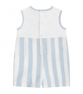 White and light blue babyboy romper with logo