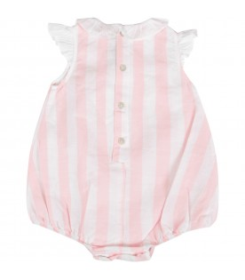 Pink and white  babygirl romper with logo