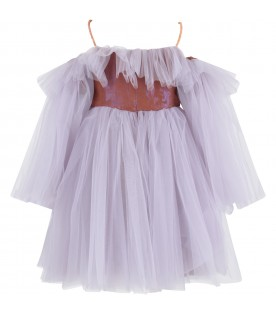 Lilac and brown ''Romantica'' girl dress