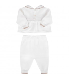 White babygirl suit with beige bows