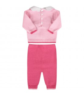 Pink and fuchsia babygirl suit with bow