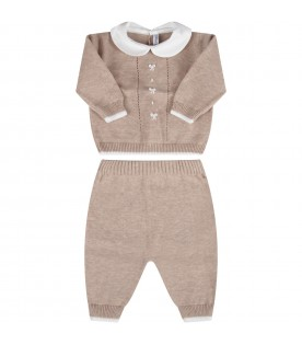Beige babykids suit with white bows