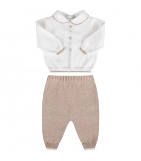 White and beige babykids suit with bows